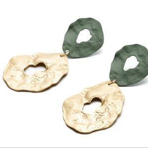 Sage green & gold pressed double hoop earrings New
